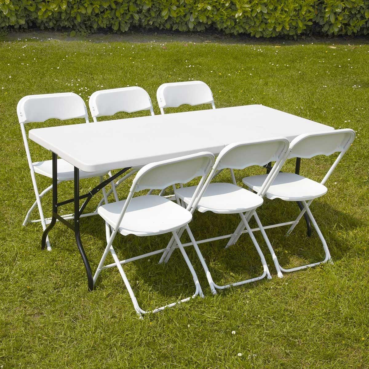 Ensemble Table Et Chaises Pliantes De Jardin 152Cm - Taille ... pour Destockage Salon De Jardin