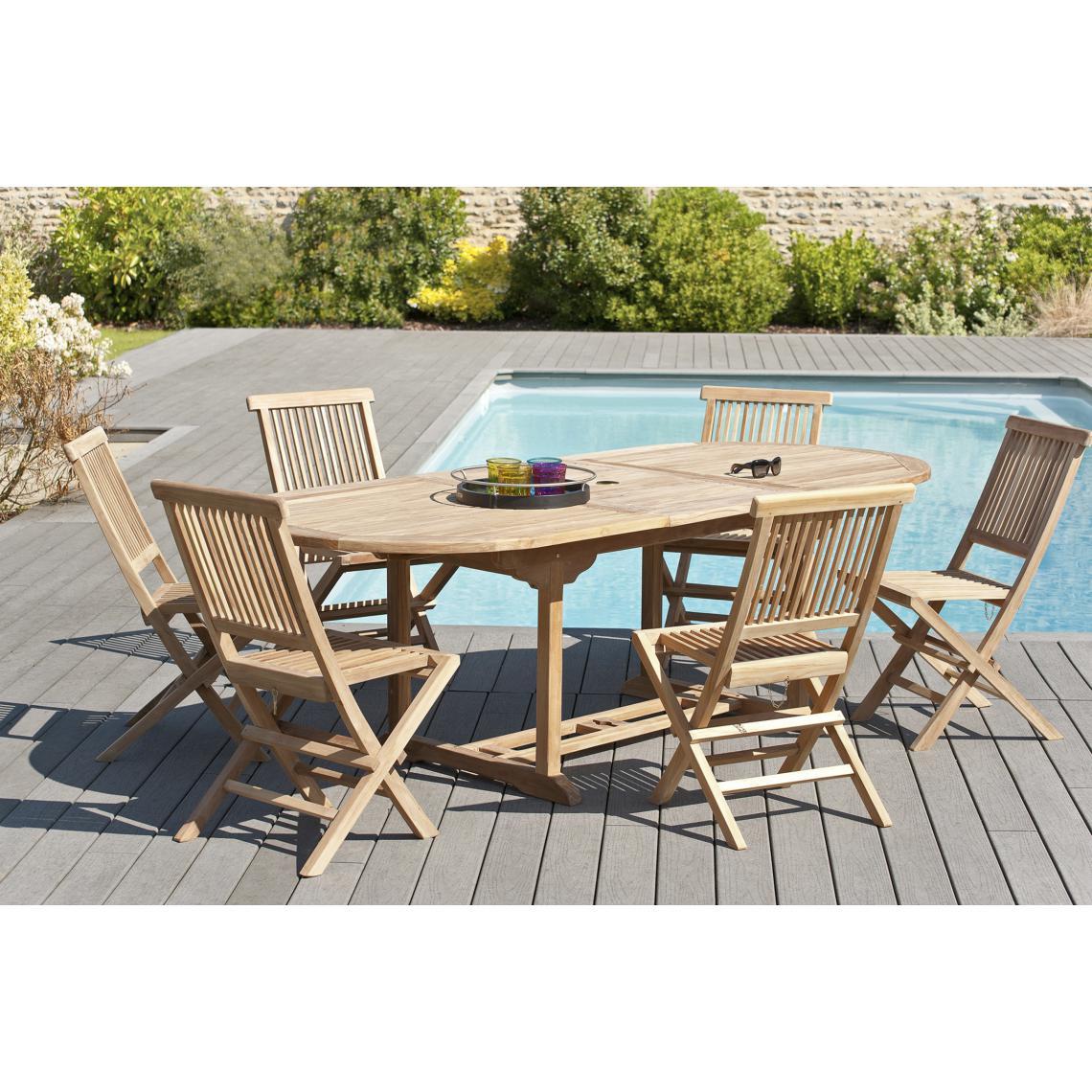 Ensemble Table Ovale Extensible + 6 Chaises En Teck Massif Plus D's tout Table Et Chaise De Jardin En Teck Pas Cher