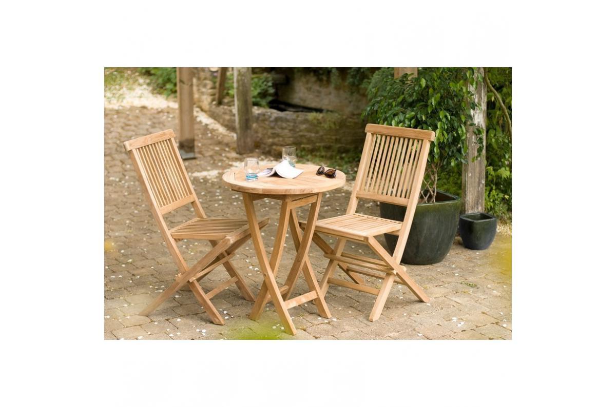 Ensemble Table Ronde + 2 Chaises Pliantes En Teck Massif Java - Teck Plus  D's pour Table Et Chaise De Jardin En Teck Pas Cher