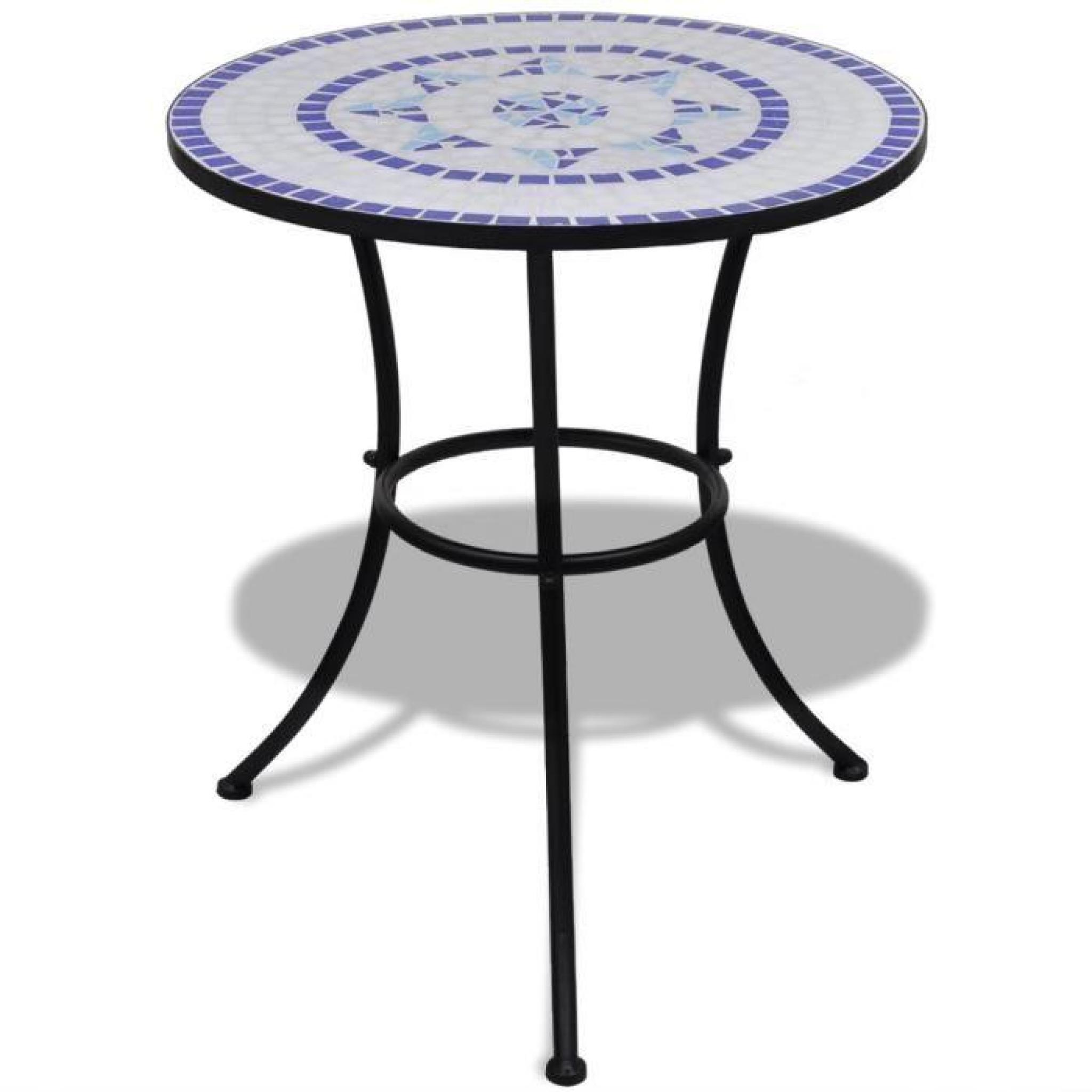 Ensembles De Meubles Set De Bistro Mosaique Table 60 Cm Et 2 Chaises  Noir/blanc avec Meubles De Jardin Pas Cher