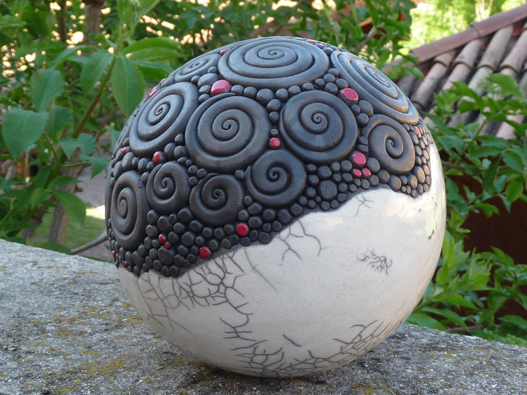 Épinglé Par Claudia Postaremczak Sur Raku | Texture ... pour Boule Céramique Jardin