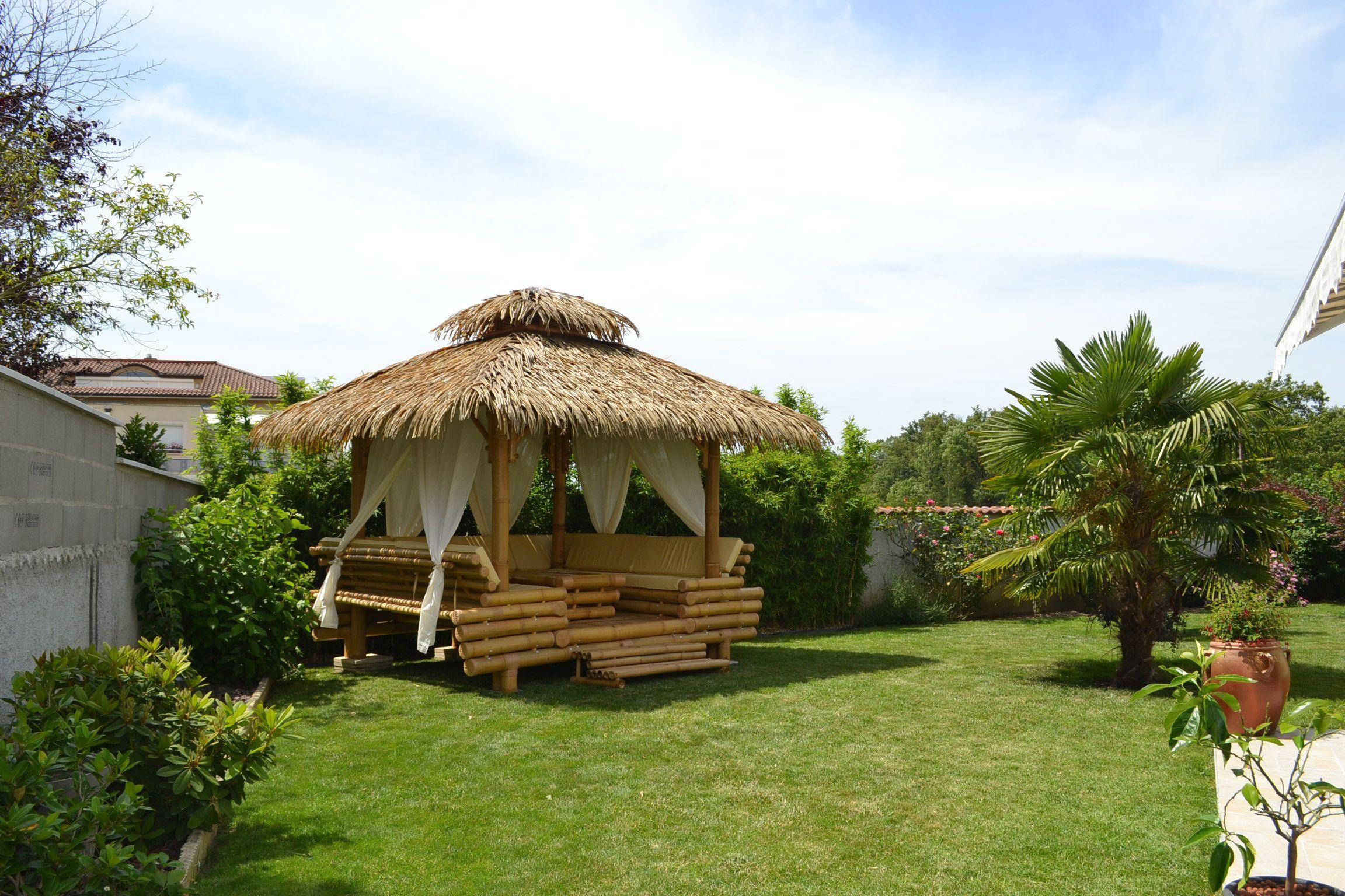 Épinglé Sur Gazebo Bambou, Paillote Bambou Et Bar En Bambou avec Paillote Jardin