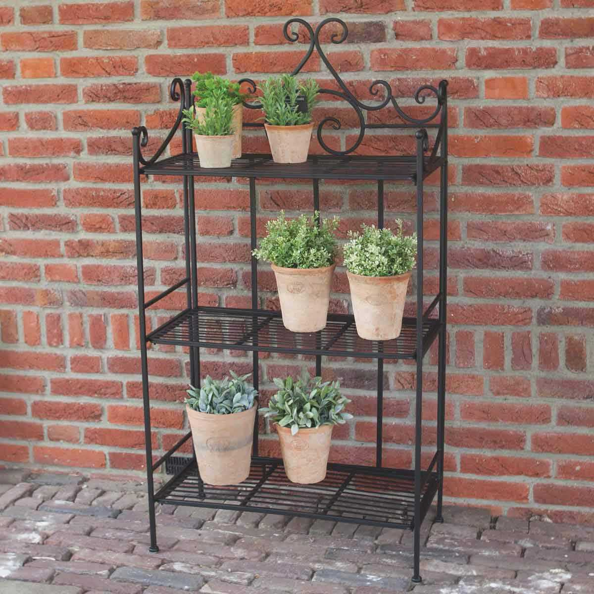 Étagère Pliante Pour Plantes En Fer 3 Niveaux 113Cm avec Etagere De Jardin Pour Plantes
