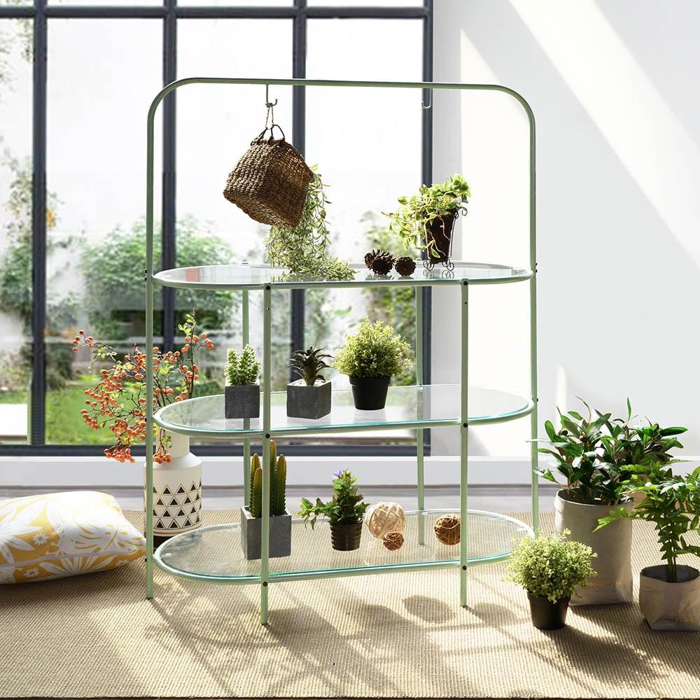 Etagère Porte-Plante 3 Niveaux Verre Métal Vert Pastel destiné Etageres Jardin Pour Plantes