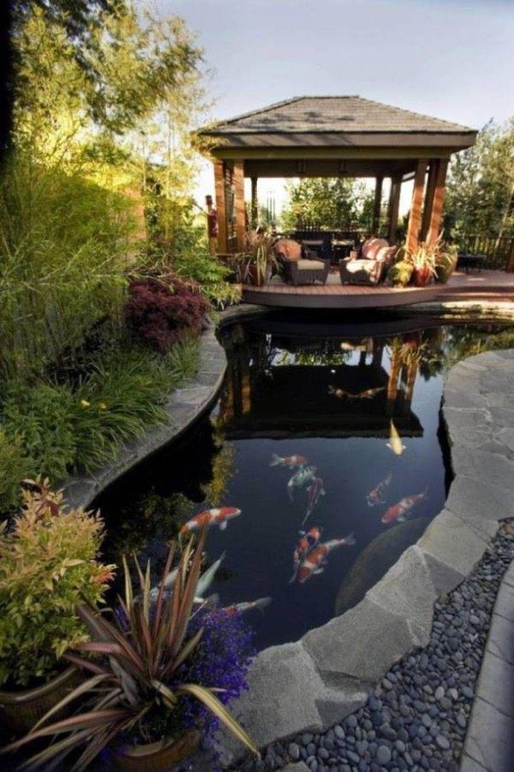 Étang De Jardin Moderne Pour Héberger Les Poissons Et ... avec Bassin De Jardin Pour Poisson