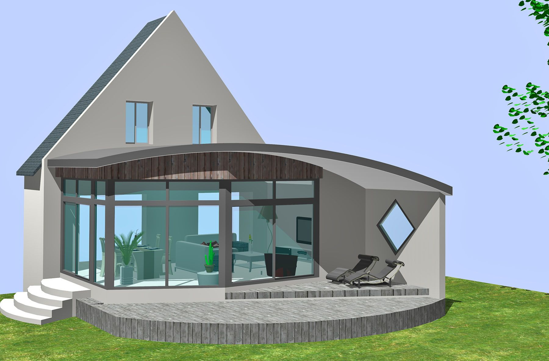 Extension Toit Arrondi En 3D | Extension Maison, Maison, Spa ... tout Abri De Jardin Toit Arrondi