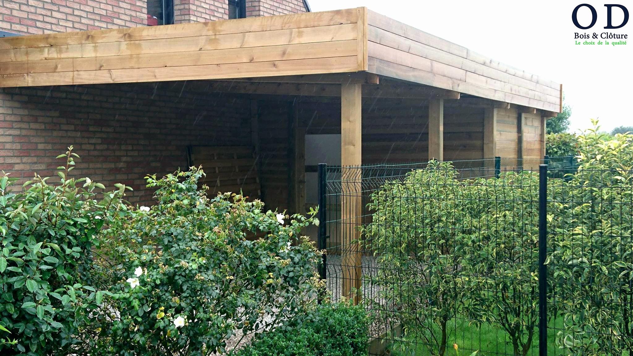 Fabriquer Carport Toit Plat Élégant Construire Garage Bois ... concernant Construire Une Cabane De Jardin