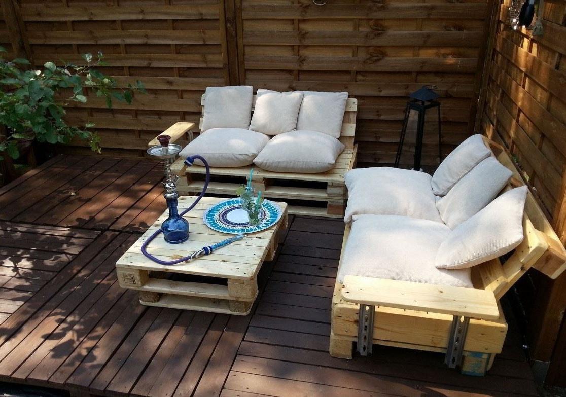 Fabriquer Un Salon De Jardin En Palette : 30 Photos Et Idées ... tout Coussin Pour Salon De Jardin En Palette