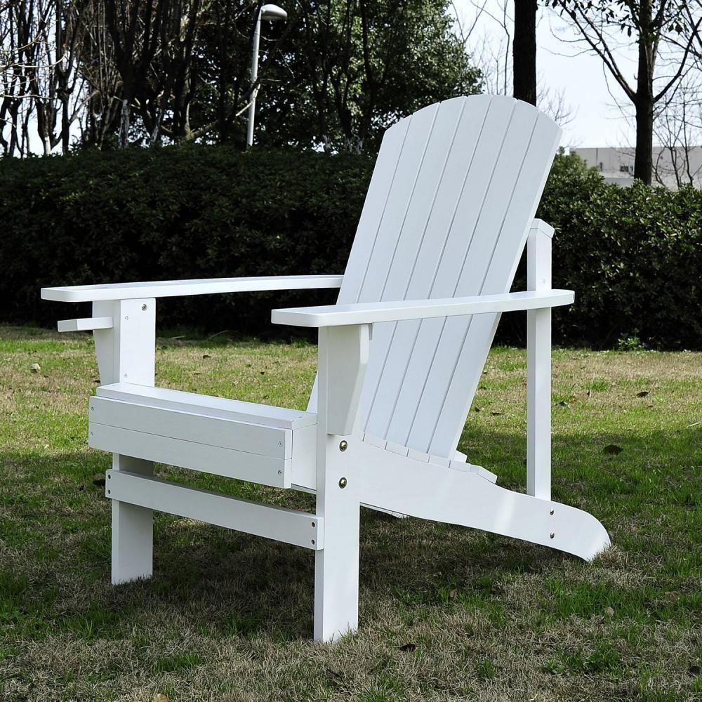 Fauteuil De Jardin Adirondack Chaise Longue Inclinable En Bois 97L X 73L X  93H Cm Blanc concernant Fauteuil De Jardin Bois Adirondack