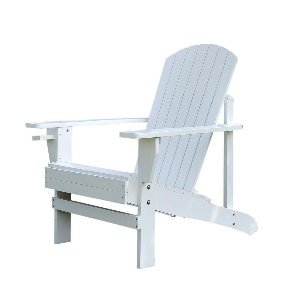 Fauteuil De Jardin Adirondack Chaise Longue Inclinable En Bois 97L X 73L X  93H Cm Blanc serapportantà Fauteuil De Jardin Bois Adirondack