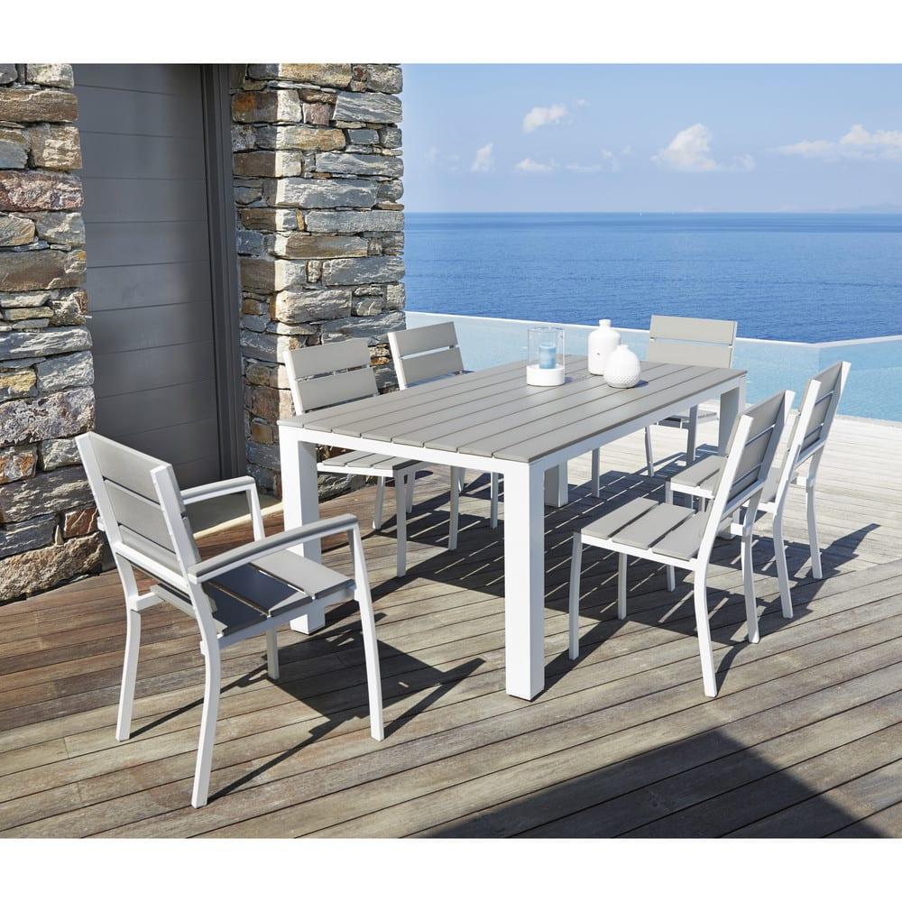 Fauteuil De Jardin En Aluminium Blanc destiné Table Jardin 6 Personnes