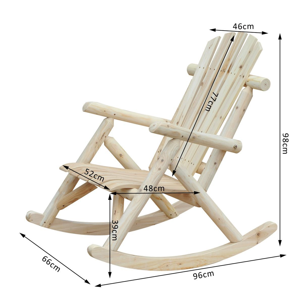 Fauteuil De Jardin Rocking Chair Bois De Pin Outsunny In ... pour Rocking Chair De Jardin