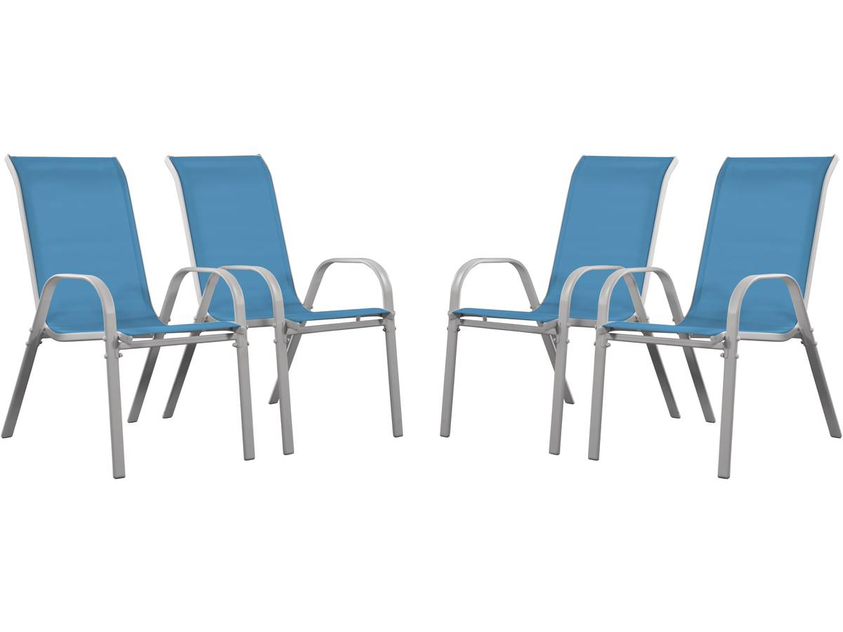 """Fauteuil Jardin Textilène """"cordoba"""" - Phoenix - Bleu - Lot ... encequiconcerne Chaise De Jardin Bleu"""