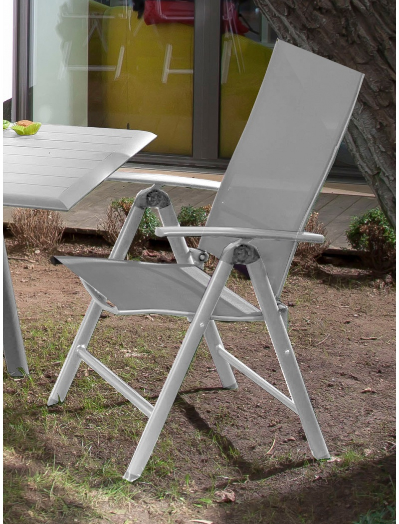 Fauteuil Multipositions Palma Blanc / Gris Argent intérieur Fauteuil De Jardin Pliant Multiposition