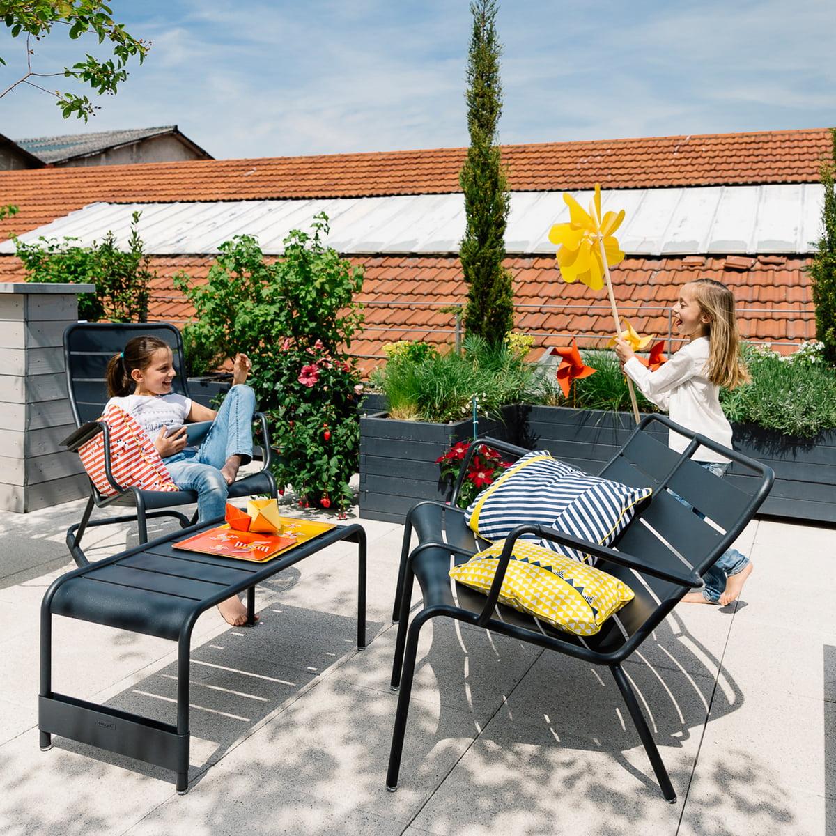 Fermob - Table Basse Large / Banc De Jardin Luxembourg, Blanc Coton à Fermob Jardin Du Luxembourg