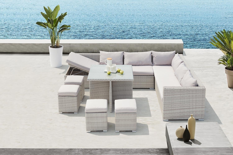 Fidji Gris/blanc serapportantà Salon De Jardin Encastrable 10 Places