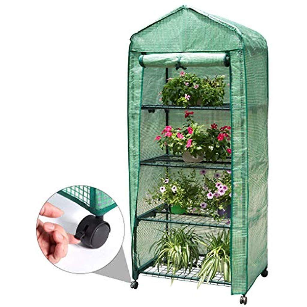 Finether 4-Tier Mini Serre De Jardin Metal Pe Plastique ... concernant Couverture Abris De Jardin