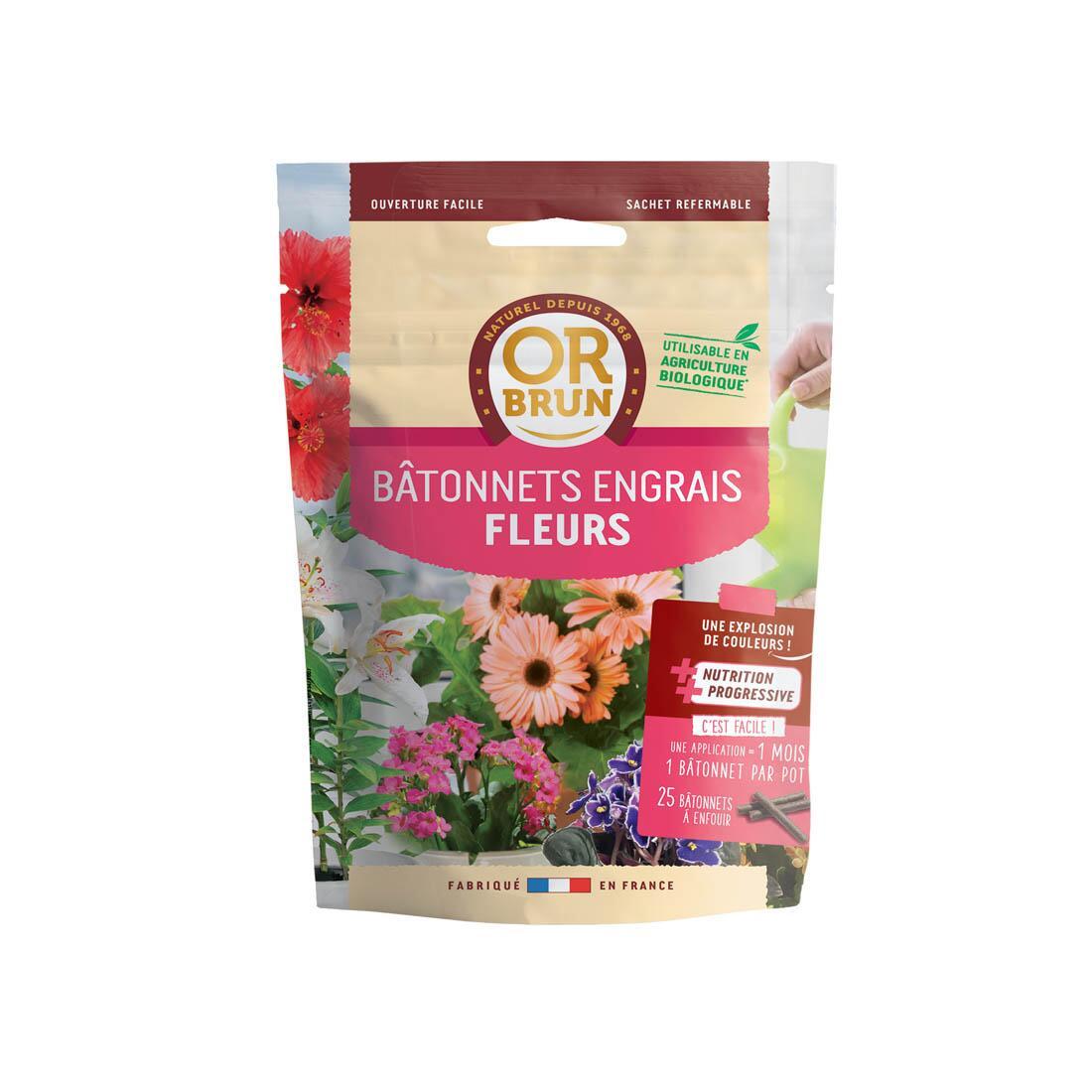 Fleurs 25 Bâtonnets à Engrais Bio Jardin