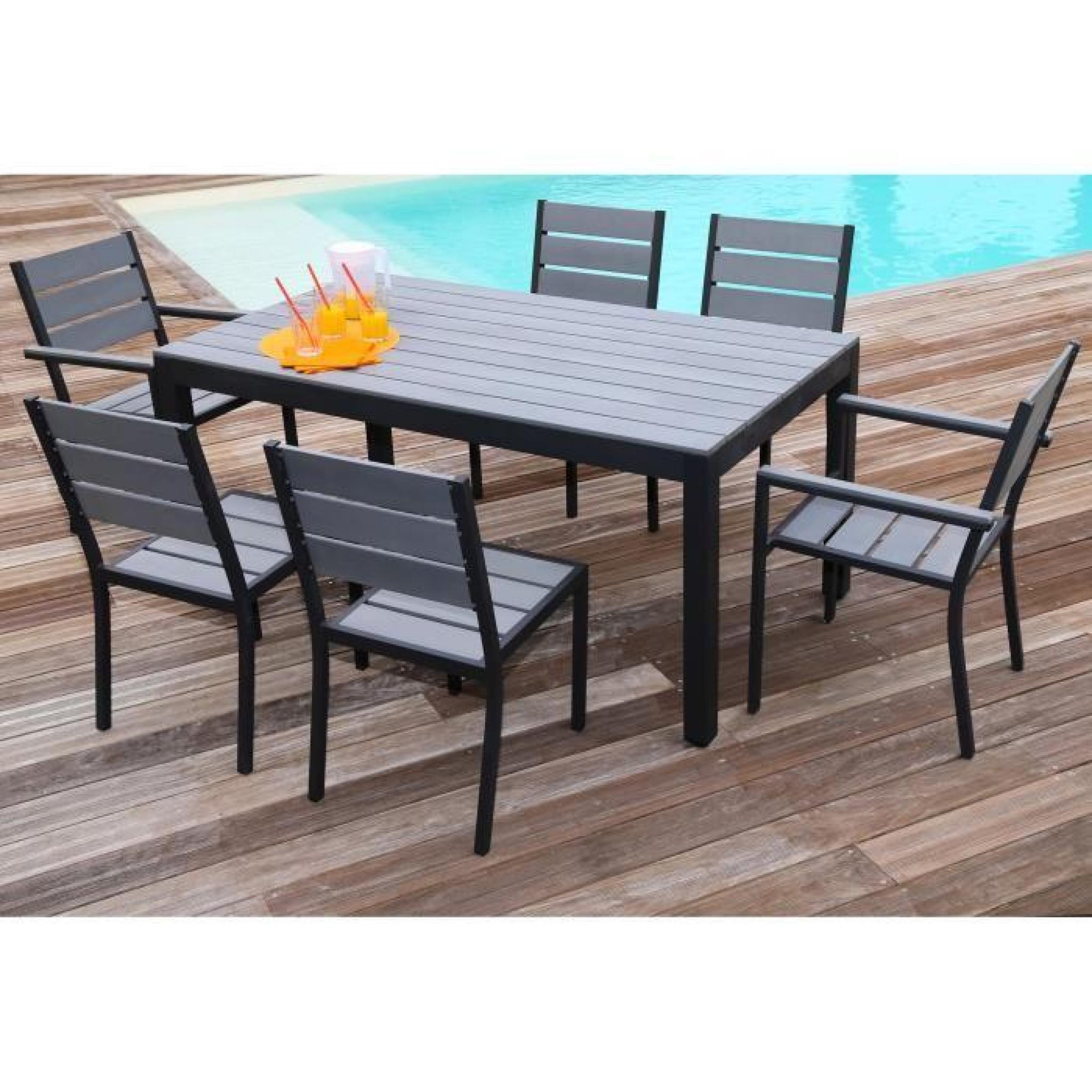 Floride Ensemble Table De Jardin 160 Cm + 2 Fauteuils + 4 Chaises Aluminium  Et Polywood Gris concernant Ensemble Table Et Chaise De Jardin En Resine Pas Cher