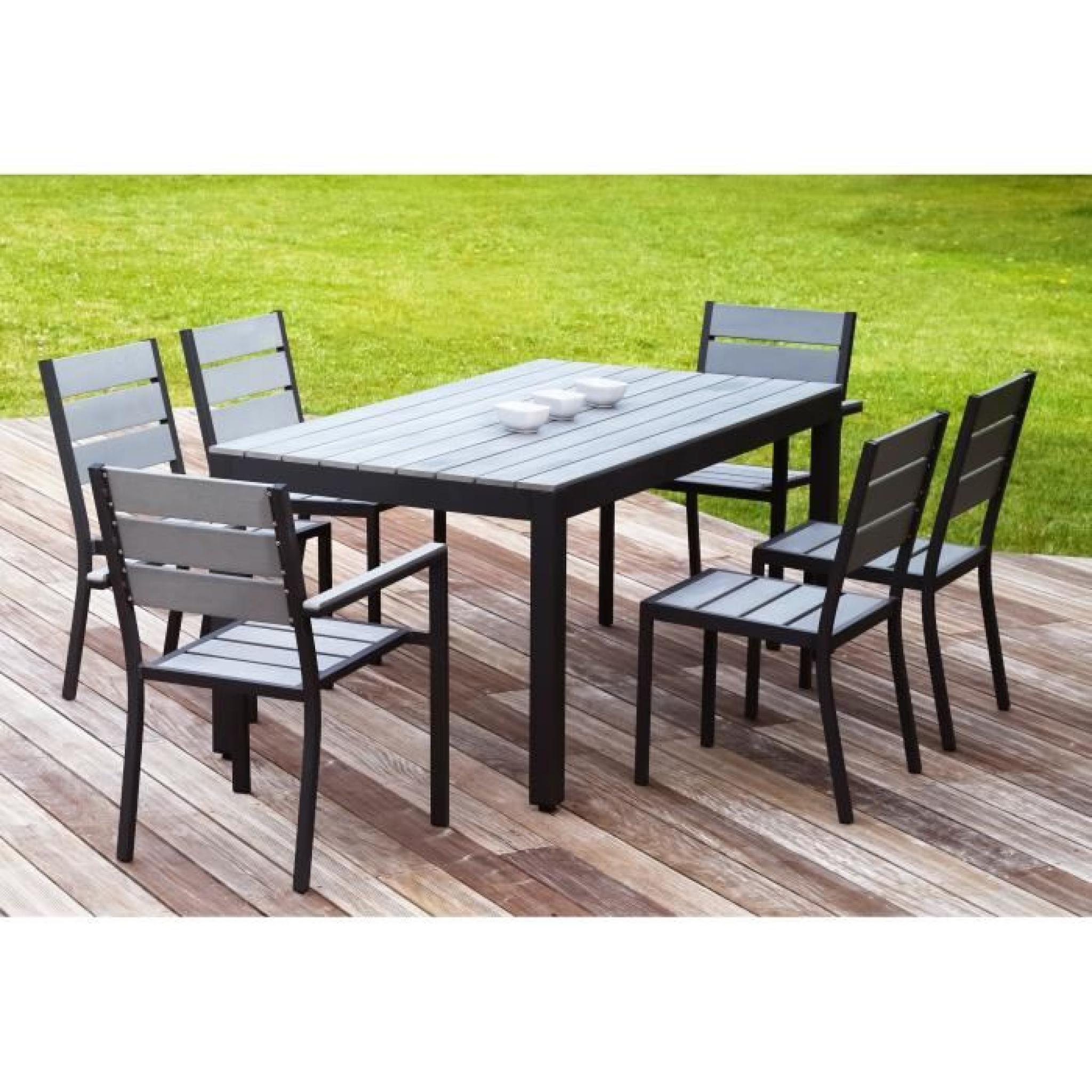 Floride Ensemble Table De Jardin 160 Cm + 2 Fauteuils + 4 Chaises Aluminium  Et Polywood Gris serapportantà Salon De Jardin Polywood