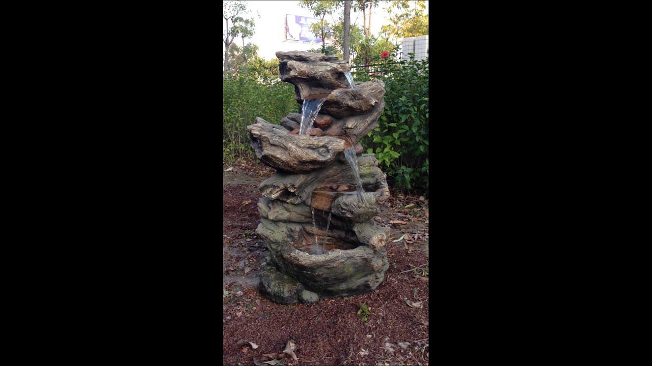 Fontaine Avec Cascade Et Éclairage Led En Résine Norfolk - Set Complet intérieur Fontaine De Jardin En Resine