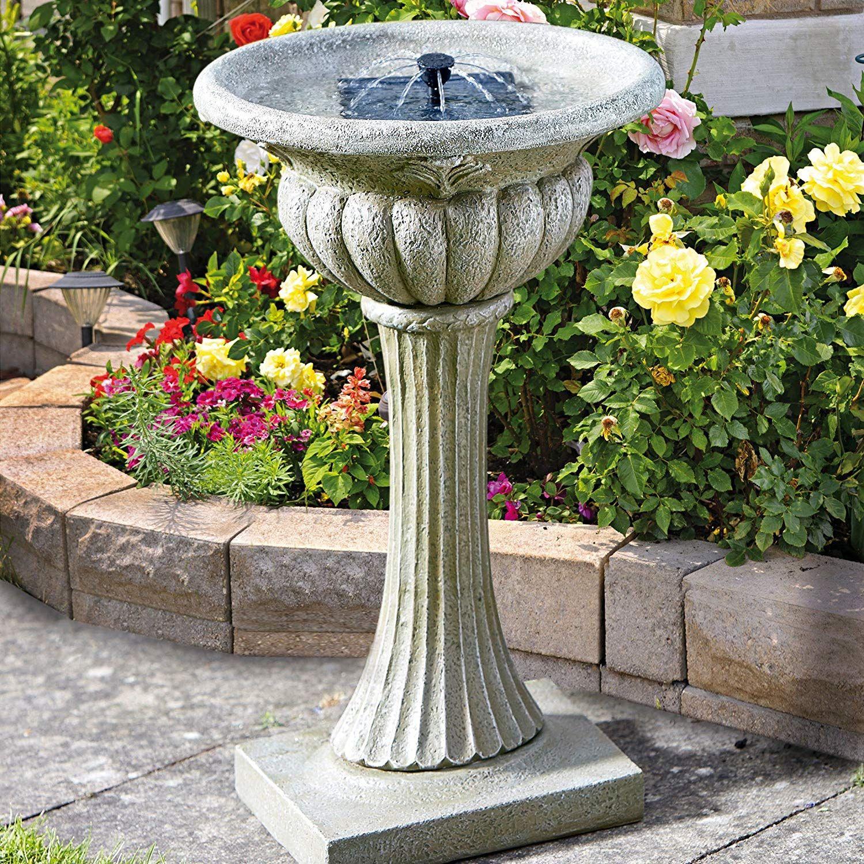 Fontaine Bain D'oiseau Gris Rochester En Résine Imitation ... tout Fontaine De Jardin En Resine