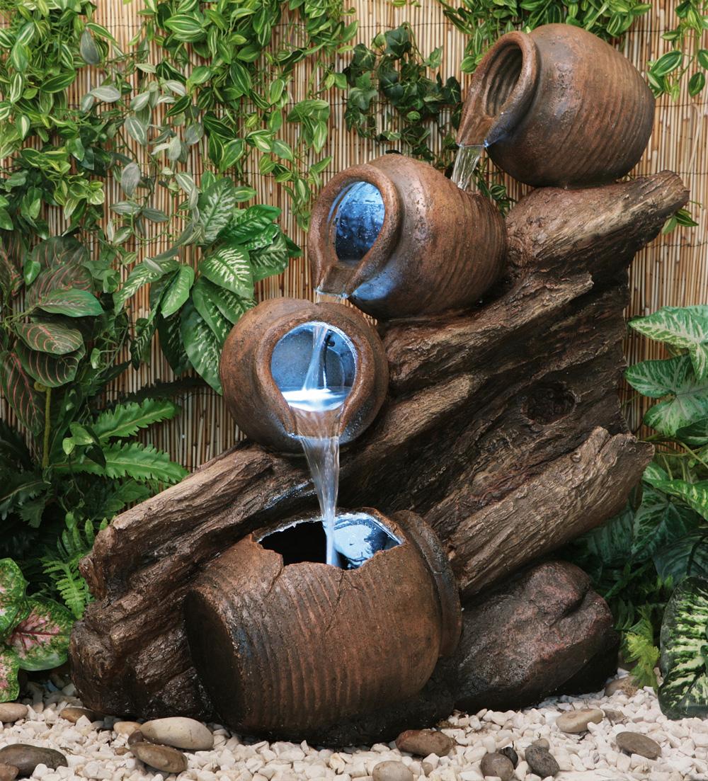 Fontaine Cascade 4 Jarres D'huiles Avec Lumieres destiné Jarre De Jardin