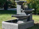 Fontaine De Jardin À Débordement Bassin 3 Vasques Noire Grise concernant Vasque Jardin Pierre