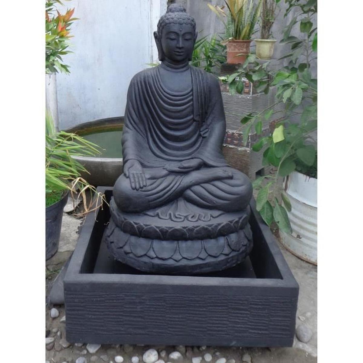 Fontaine De Jardin Bouddha Assis 1 M 20 Patiné Noir - Achat ... dedans Bouddha Pour Jardin Pas Cher