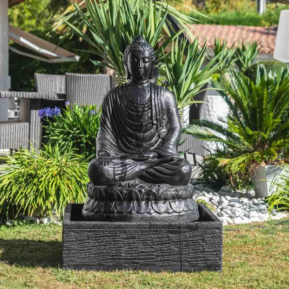 Fontaine De Jardin Bouddha Assis 1 M 20 Patiné Noir serapportantà Fontaine De Jardin Bouddha