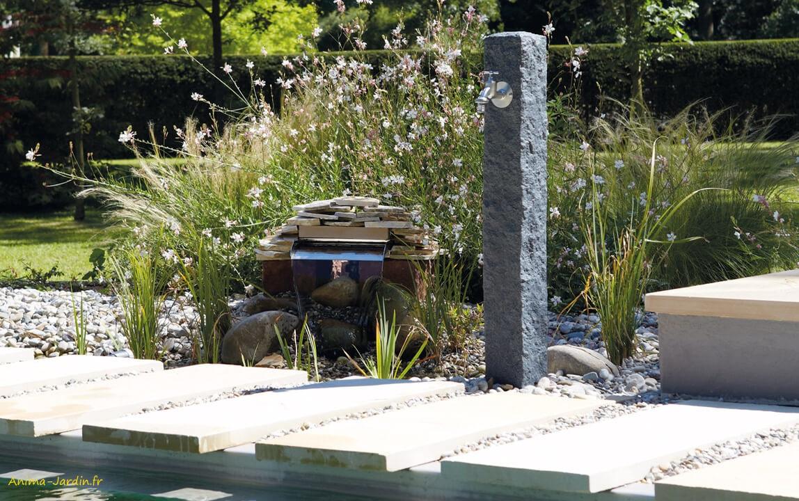 Fontaine De Jardin, Imitation Pierre, Granit, Point D'eau ... pour Petite Fontaine De Jardin Pas Cher