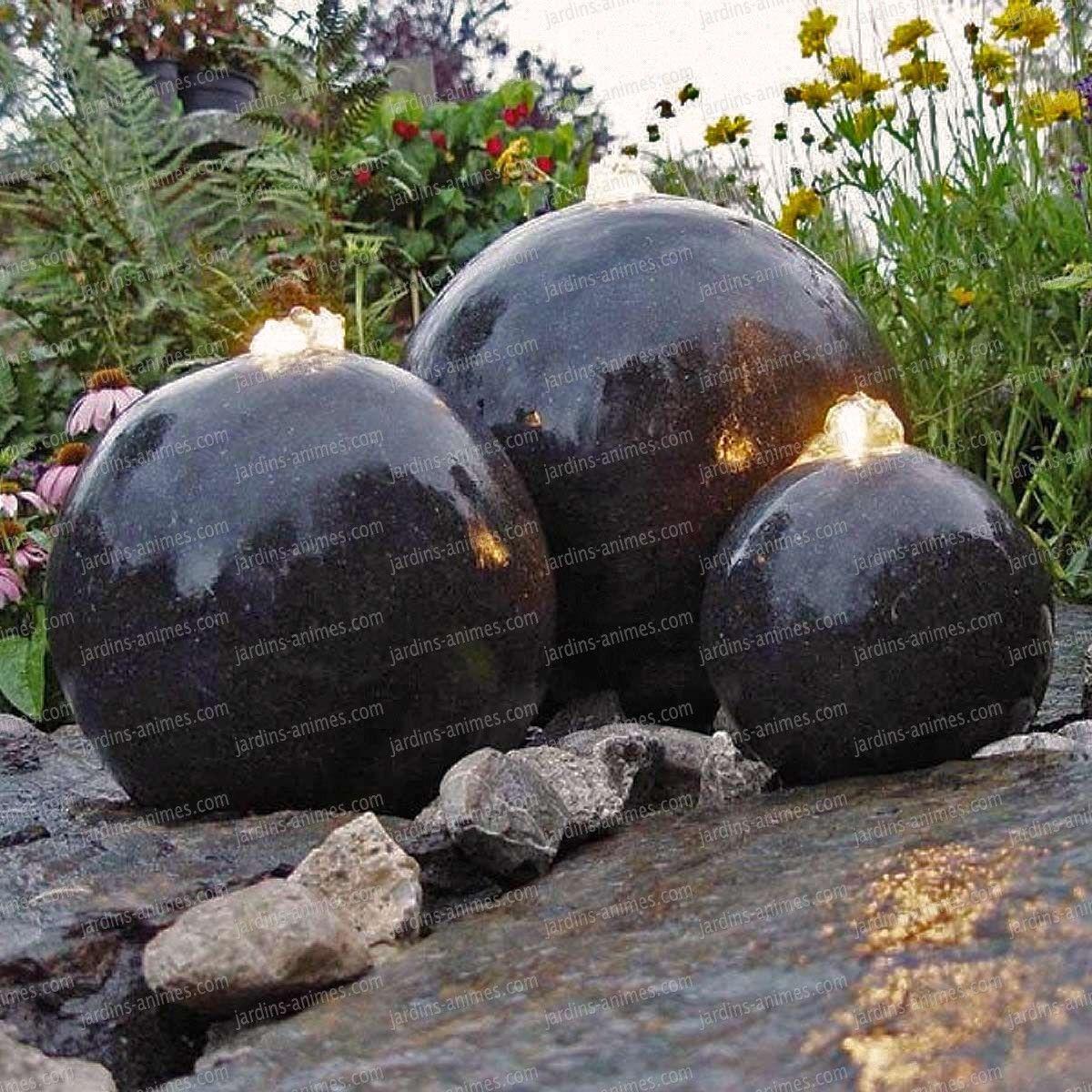 Fontaine De Jardin Lumineuse 3 Sphères | Fontaine De Jardin ... encequiconcerne Accessoires Pour Bassin De Jardin