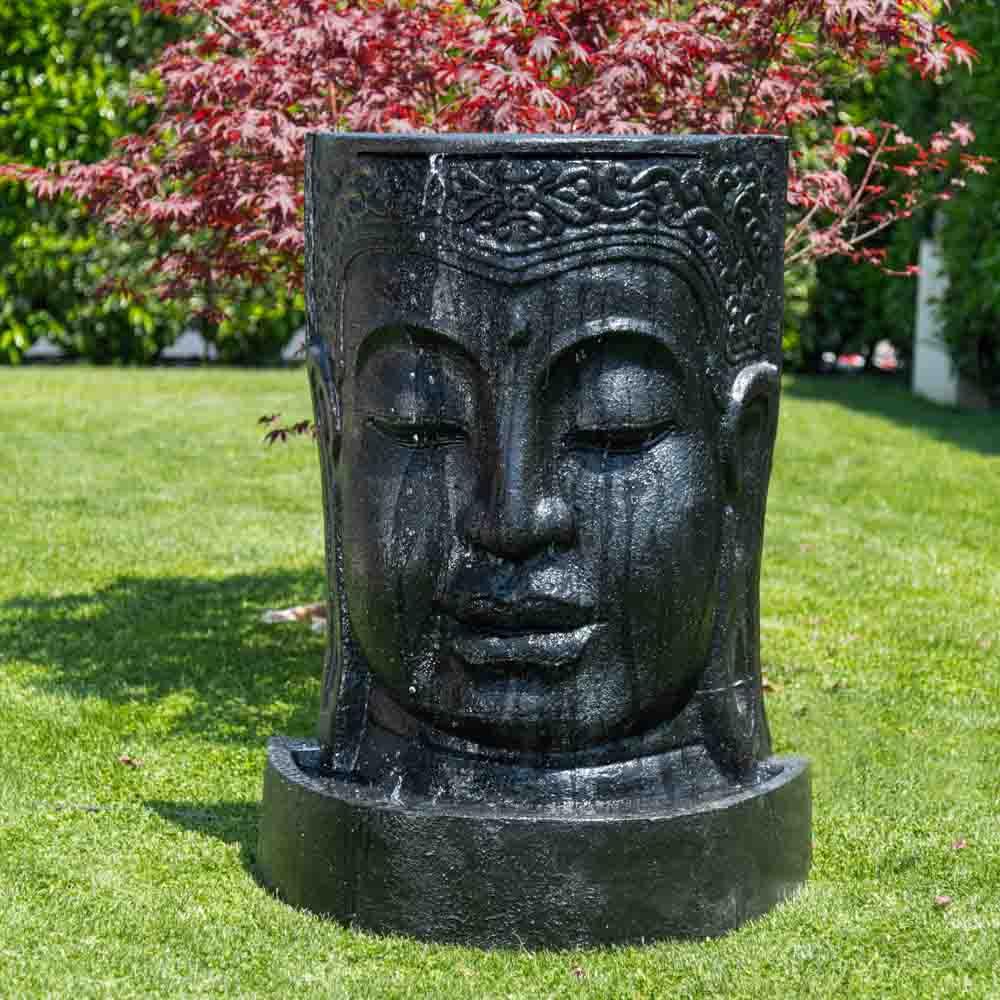 Fontaine De Jardin Mur D'eau Visage De Bouddha 1 M 20 Noir serapportantà Fontaine De Jardin Bouddha