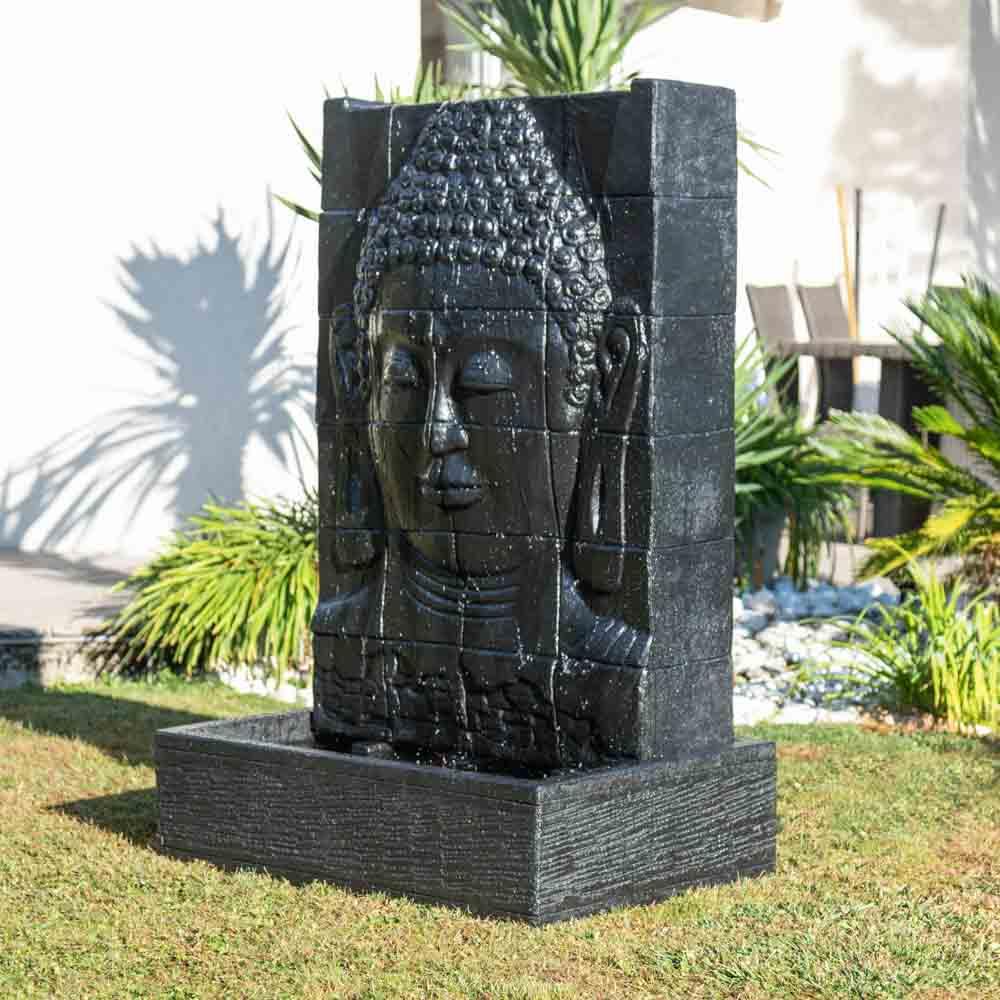 Fontaine De Jardin Mur D'eau Visage De Bouddha 1 M 50 Noir serapportantà Fontaine De Jardin Bouddha