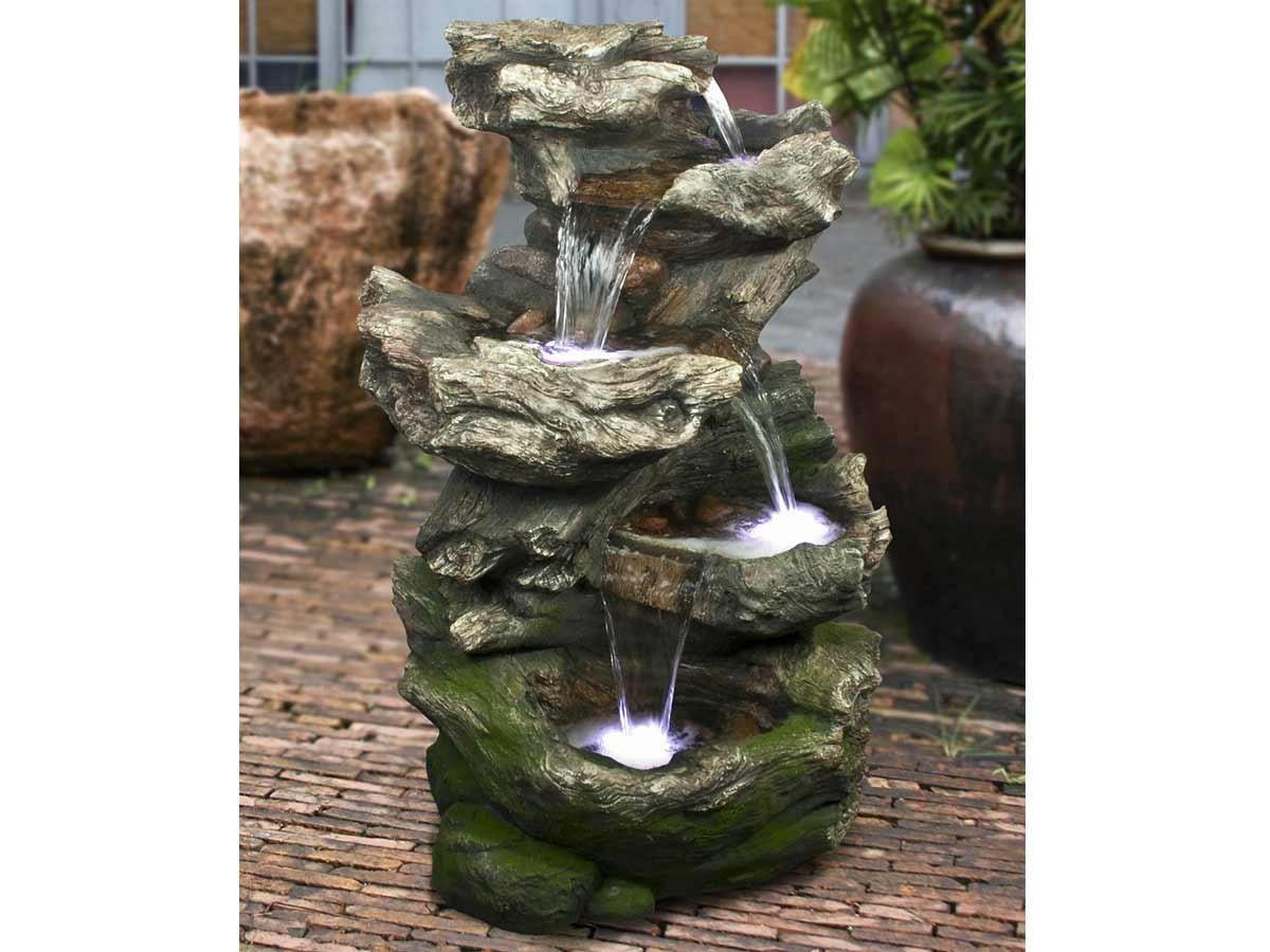 Fontaine De Jardin Norfolk Rochers Avec Cascade Et Éclairage Led pour Fontaine De Jardin En Resine