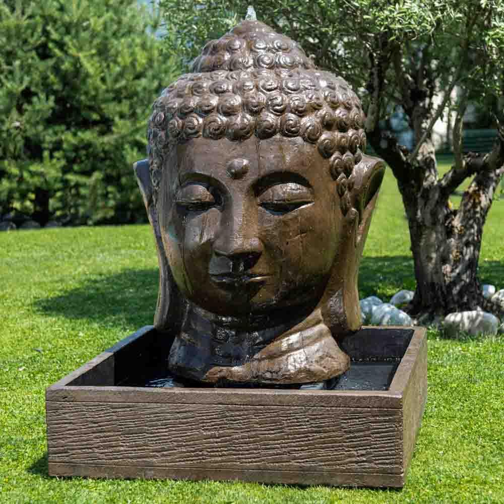 Fontaine De Jardin Tête De Bouddha 1 M 30 Brun intérieur Tete De Bouddha Pour Jardin