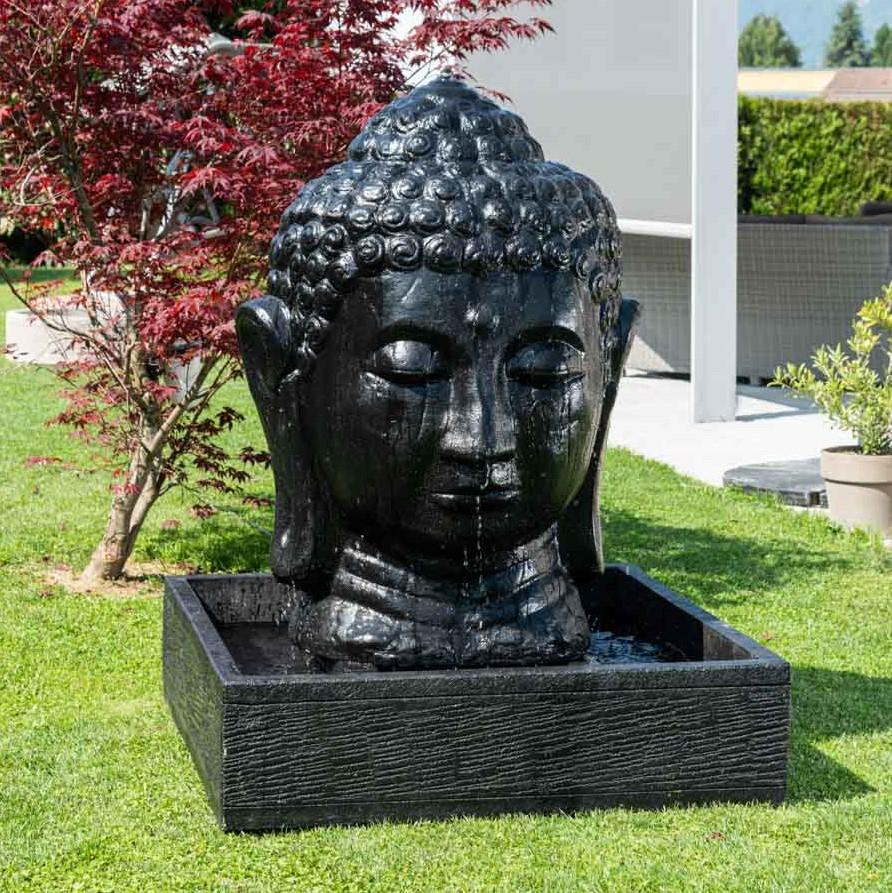 Fontaine De Jardin Tête De Bouddha 1 M 30 Noir intérieur Fontaine De Jardin Bouddha