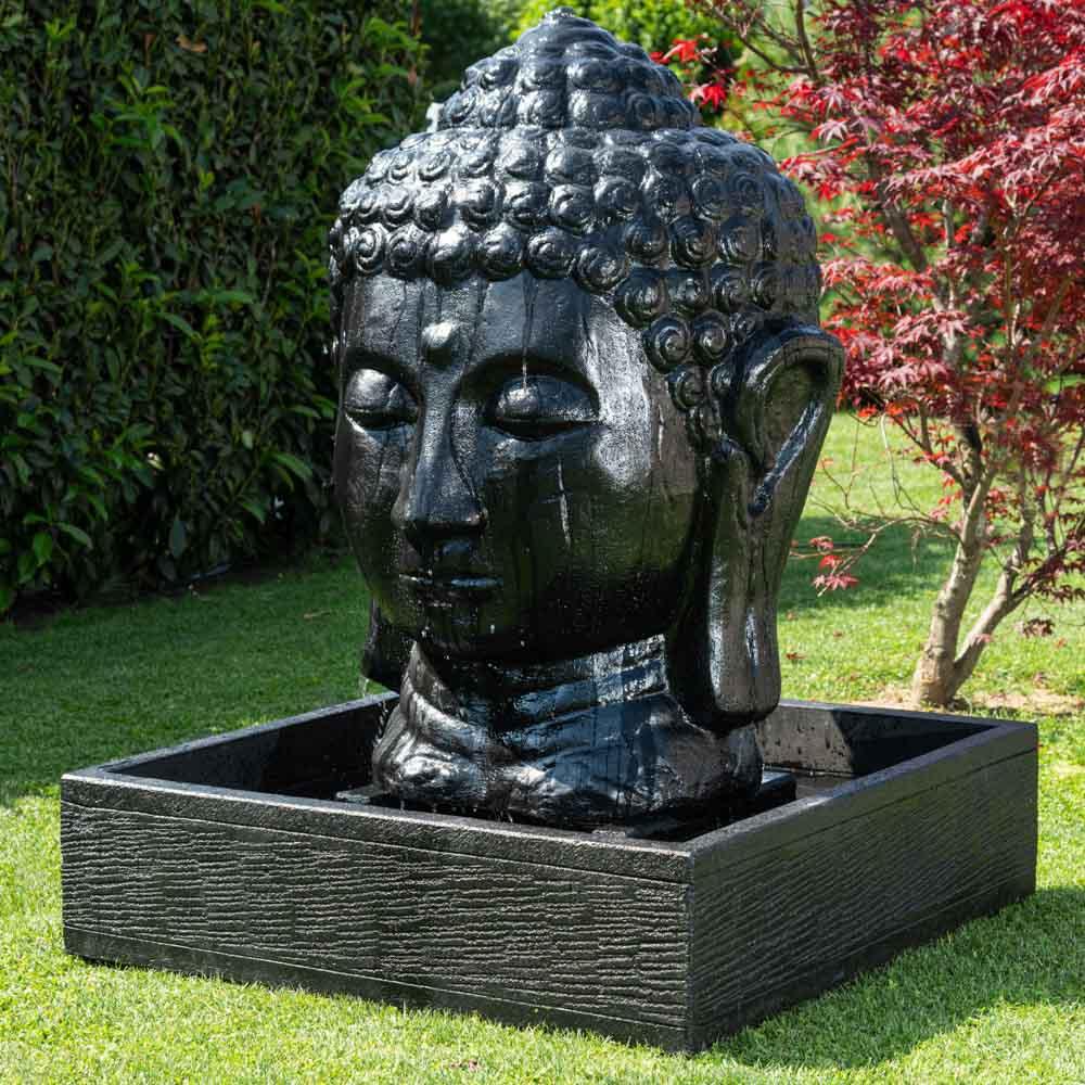 Fontaine De Jardin Tête De Bouddha 1 M 30 Noir pour Fontaine De Jardin Bouddha
