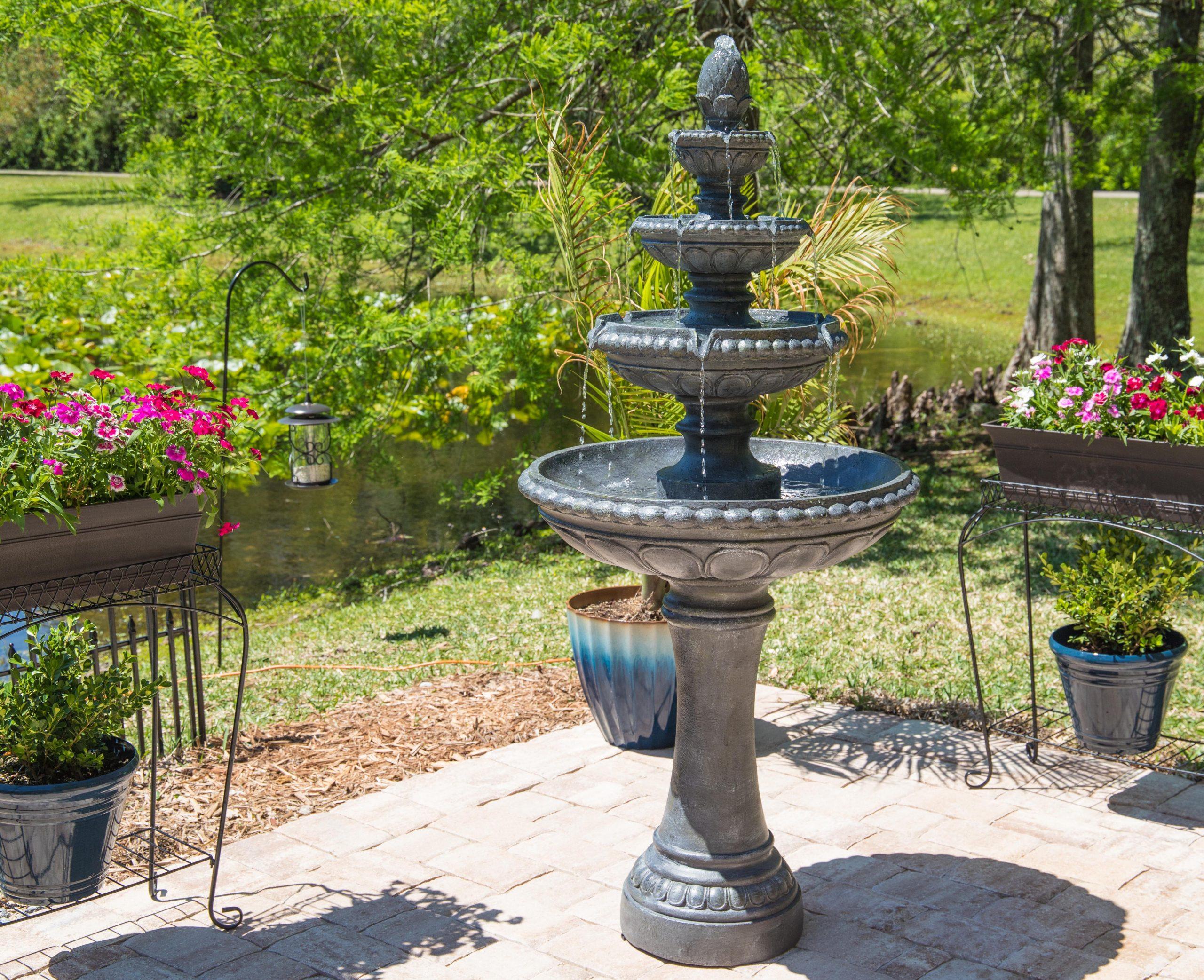 Fontaine De Plancher Extérieur En Résine Avec Éclairage Dane intérieur Fontaine De Jardin En Resine