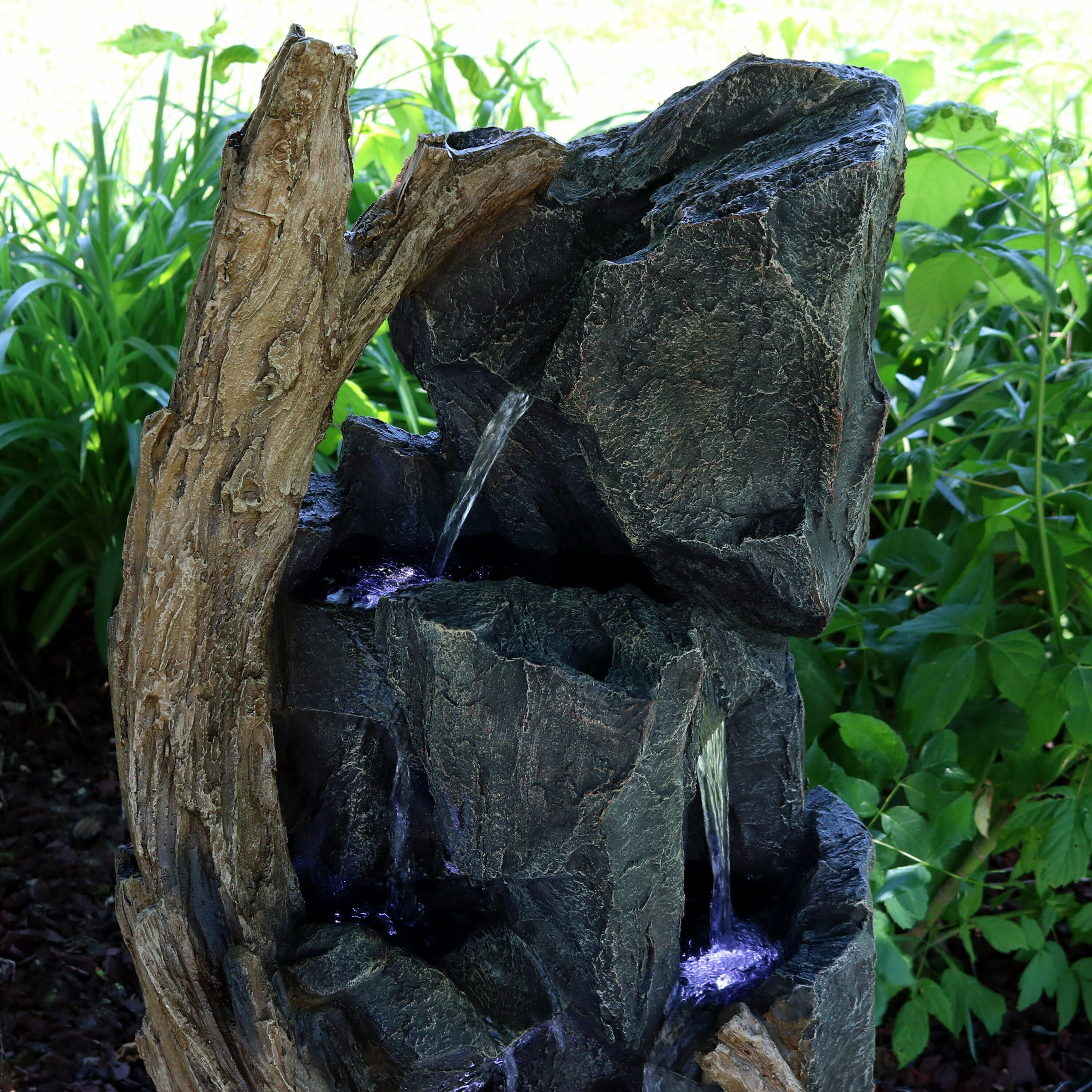Fontaine De Roche En Cascade Avec Lumière En Résine avec Fontaine De Jardin En Resine