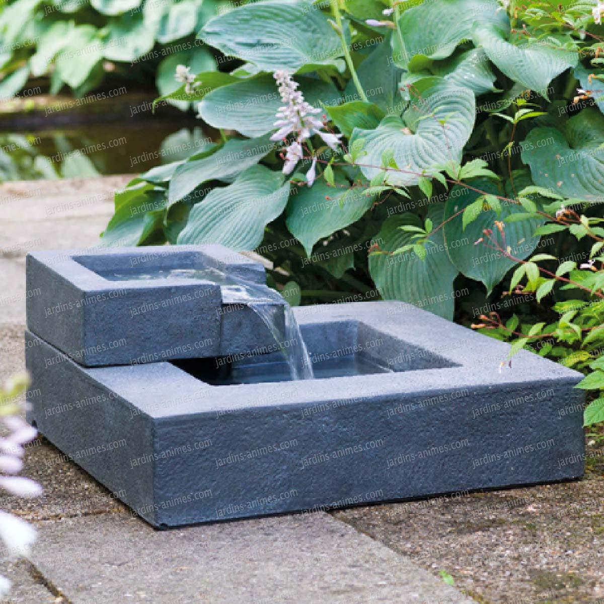 Fontaine En Cascade Carrée Exterieur à Fontaine Exterieure De Jardin