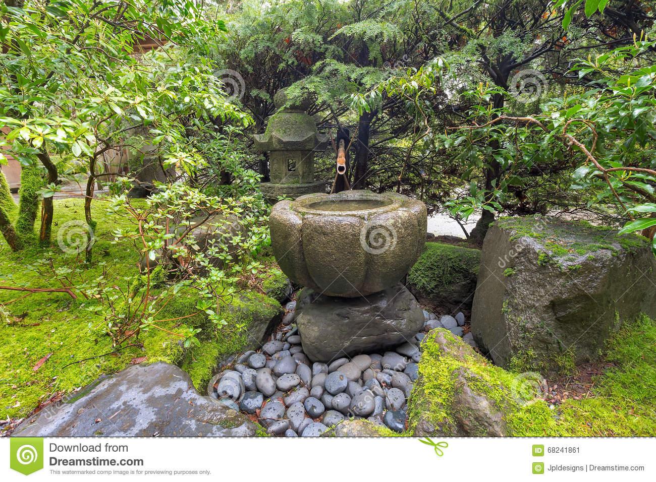 Fontaine Jardin Japonais Fontaine D Eau De Tsukubai Au ... destiné Fontaine Jardin Japonais