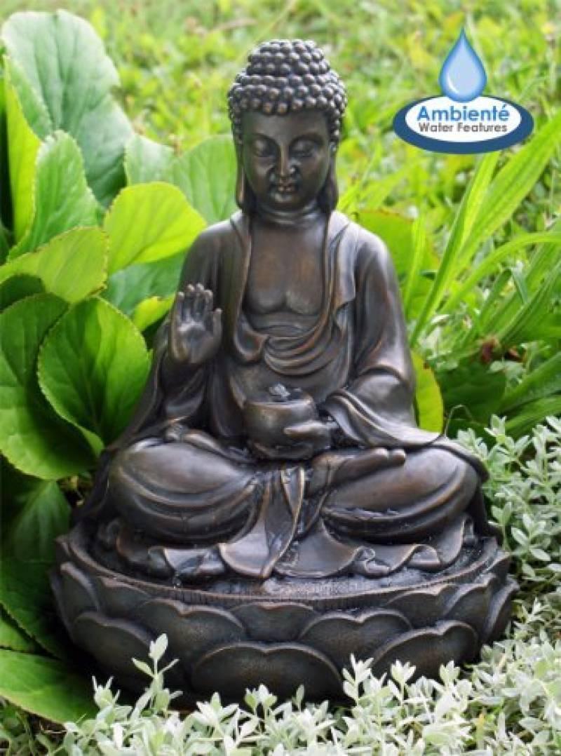 Fontaines D'intérieur Avec Lumière Led Bouddha Et Fleur De ... pour Statue Bouddha Exterieur Pour Jardin