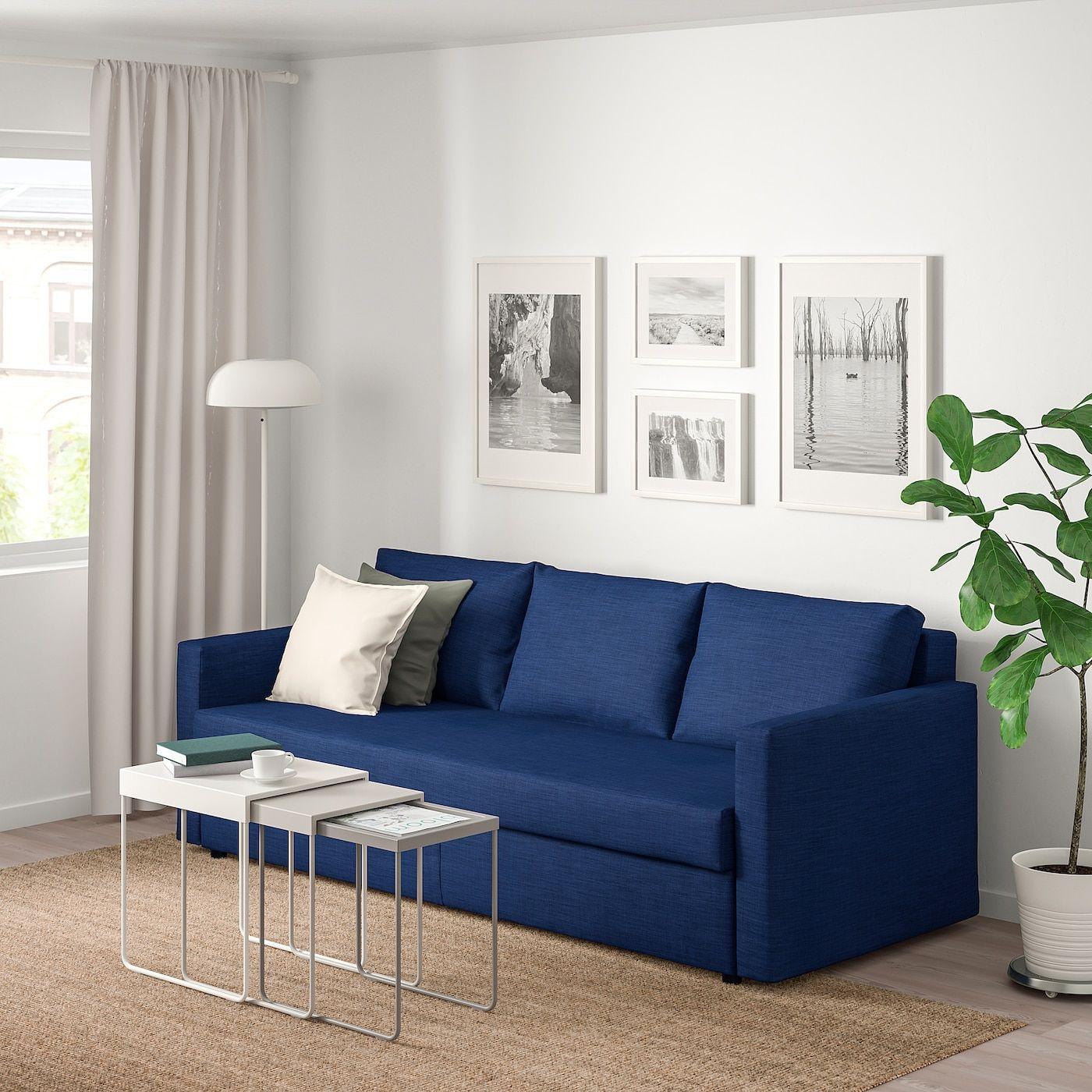 Friheten Canapé 3 Places Convertible - Skiftebo Bleu | Ikea ... encequiconcerne Salon De Jardin Pas Cher Ikea