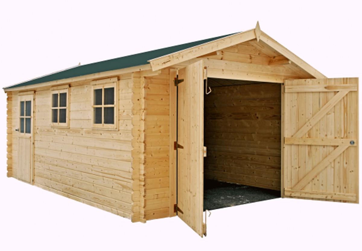 Garage En Madriers Bois 34 Mm, Des Abris De Jardin En Kit à Abri De Jardin 18M2