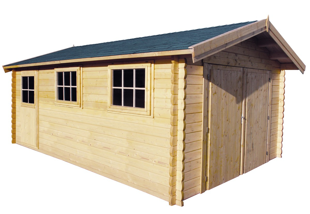 Garage En Madriers Bois 44 Mm, Abri De Jardin En Kit intérieur Carrefour Chalet De Jardin