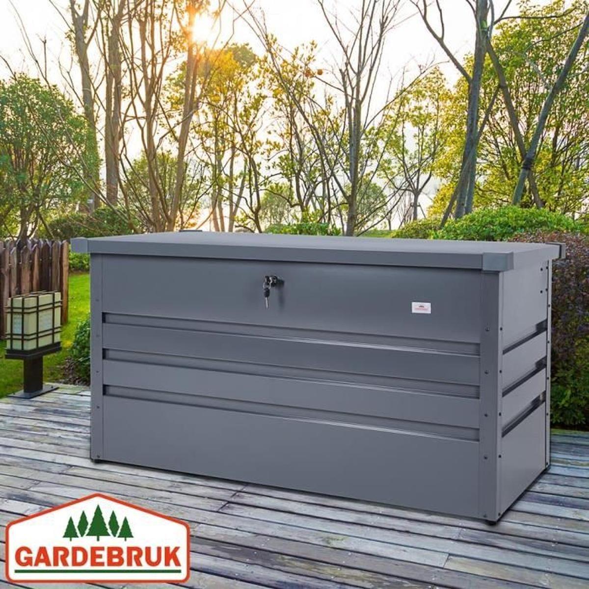 Gardebruk Coffre De Rangement 360 L Acier Anthracite 120X62X63Cm  Verrouillable Malle De Rangement Jardin Accessoires dedans Malle De Rangement Jardin