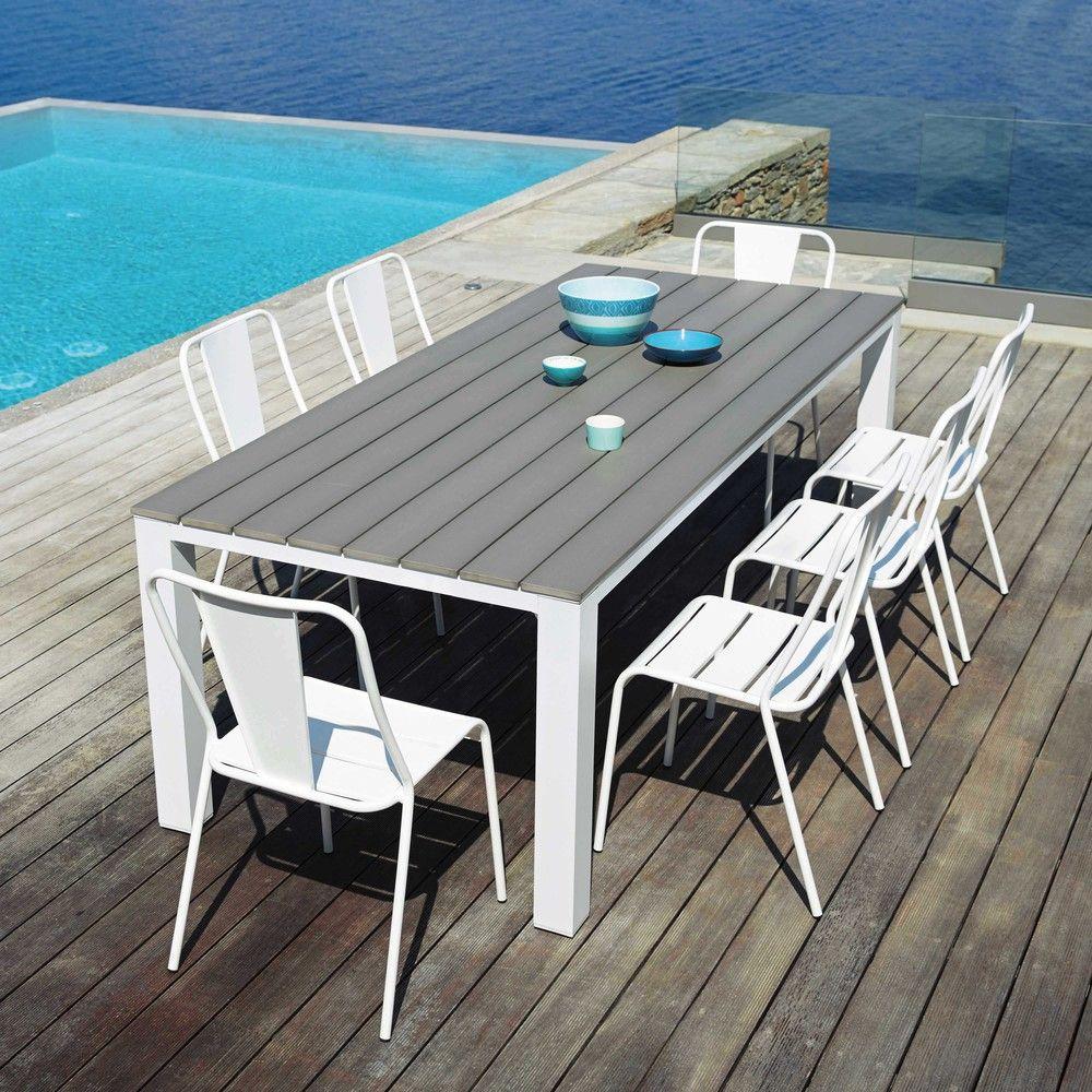 Garden Table 8/10 Persons In Aluminium And Composite W230 In ... dedans Table De Jardin Maison Du Monde