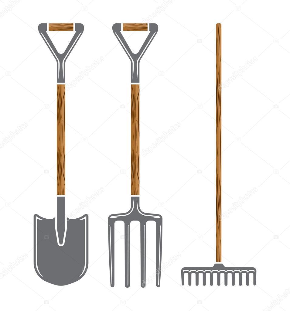 Garden Tool Spade, Pitchfork And Rake Vector Icons — Stock ... dedans Beche Jardin