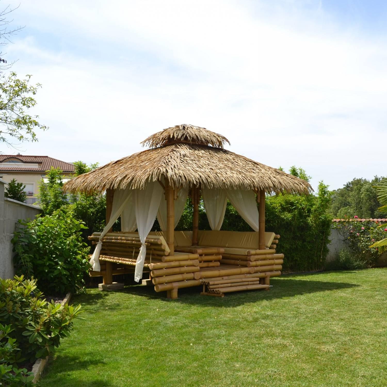Gazebo Bambou Ou Paillote Bambou, Salon De Jardin, Pergola ... intérieur Paillote Jardin